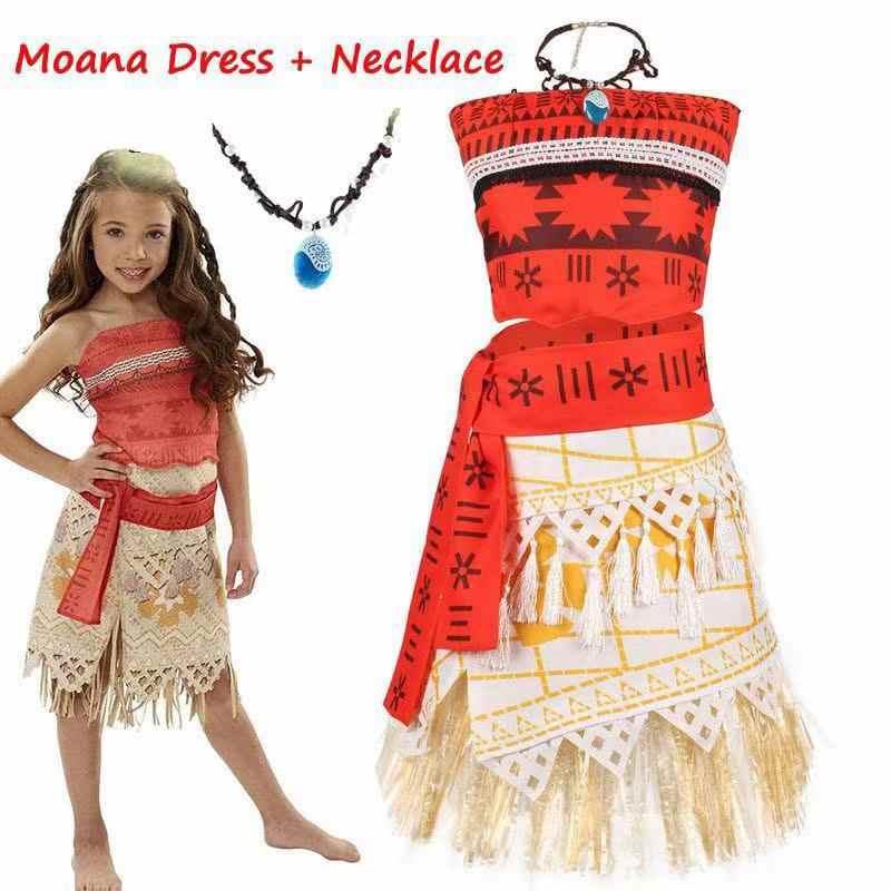 Adulto crianças cosplay vaiana moana princesa traje vestido colar peruca menina festa de halloween moana vestido traje cosplay