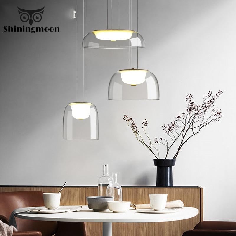 Modern Transparent Glass LED Pendant Lights Living Room Dining Room Pendant Light Bar Cafe Decor Hanging Lamp Lustre Luminaria