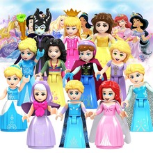 Fairy Tale Princess city Series Cinderella White Snow Doll Anna Playmobil Building Blocks ToysCollection Bricks for ChildrenGirl