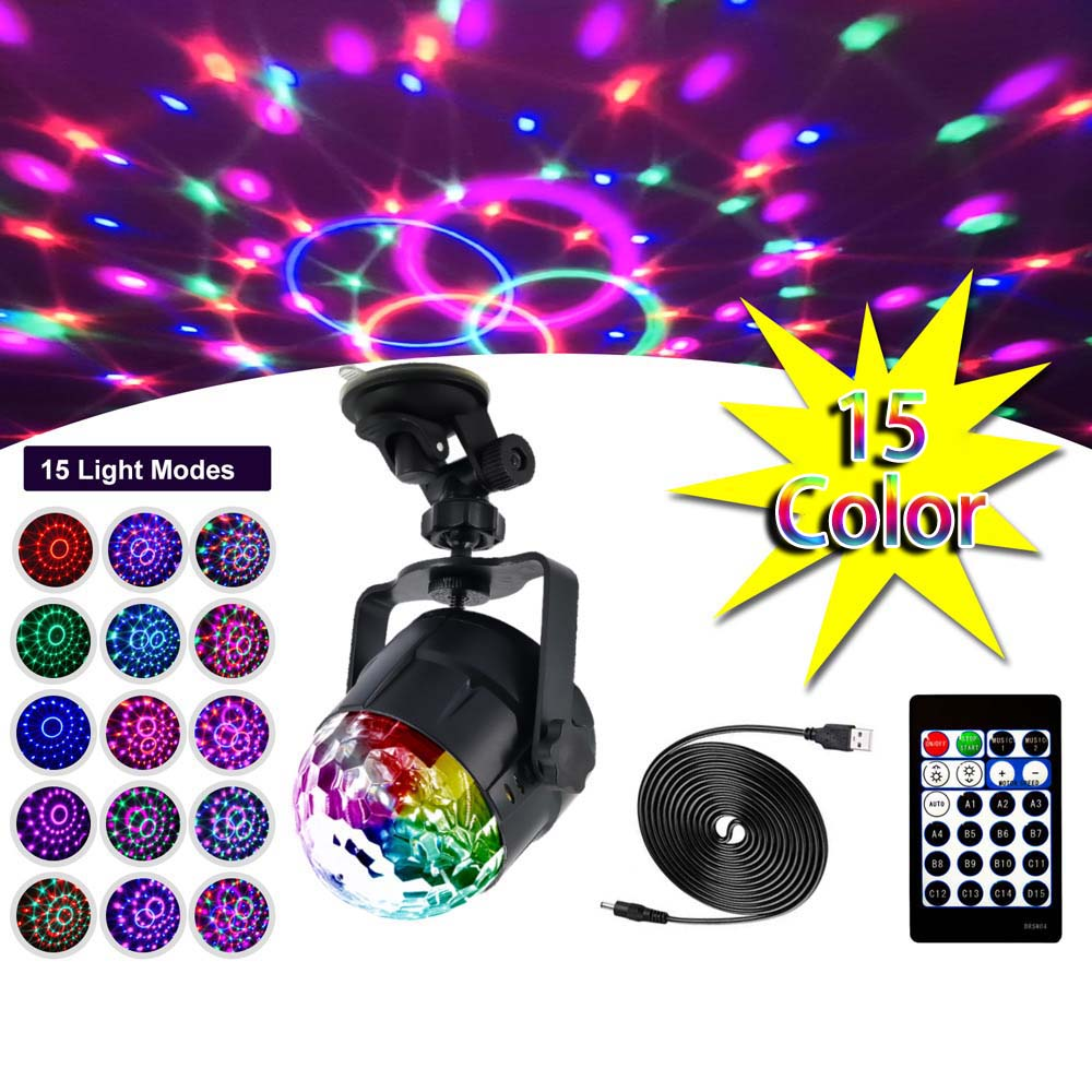 15 Color LED Ball Stage Light Disco Sound Magic Ball DJ Party LED Lights 3W Colorful Laser RGB Light For Christmas Wedding KTV