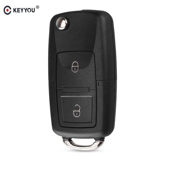 KEYYOU 2 Buttons Remote Flip Folding Car Key Shell for VW Volkswagen MK4 Bora Golf 4 5 6 Passat Polo Bora Touran