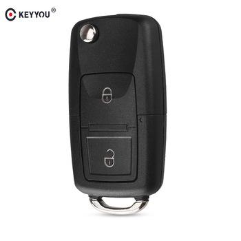 KEYYOU 2 przyciski zdalne odwróć składany klucz samochodowy Shell dla VW Volkswagen MK4 Bora Golf 4 5 6 Passat Polo Bora Touran tanie i dobre opinie for VW abs platic CHINA