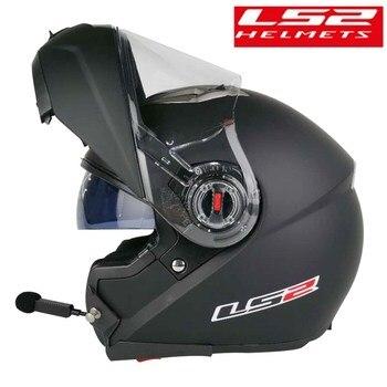 Casco motocicleta modular Bluetooth LS2 FF370 con intercomunicador abatible hacia arriba para hombre, Capacete kask con doble Visor, Casco de carreras