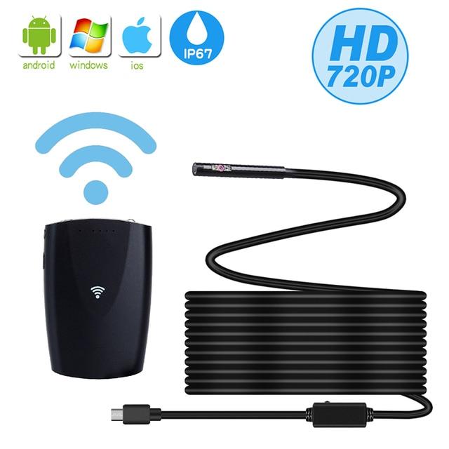 Caméra endoscopique Double objectif 6mm   Endoscope Wifi, résistance IP67, Inspection sans fil, caméra Flexible pour ordinateur portable, Android