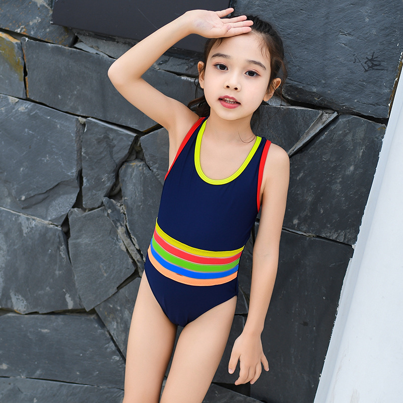One-piece Swimsuit For Children Girls Baby Cute Athletic Tour Bathing Suit Big Boy Rainbow Stripes Hot Springs Swimwear