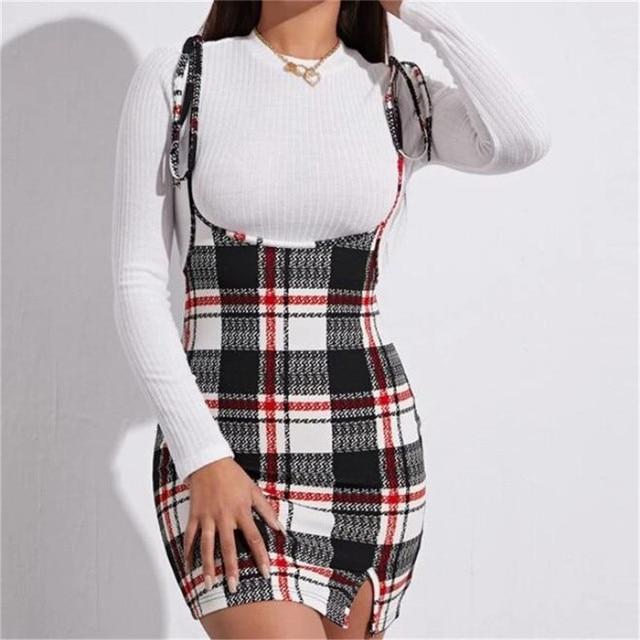Fashion Women Dress Check Dog Tooth Frill Ruffle Pinafore High Waist Bodycon Party Mini Dress Holiday Casual Slim Dress vestidos 2