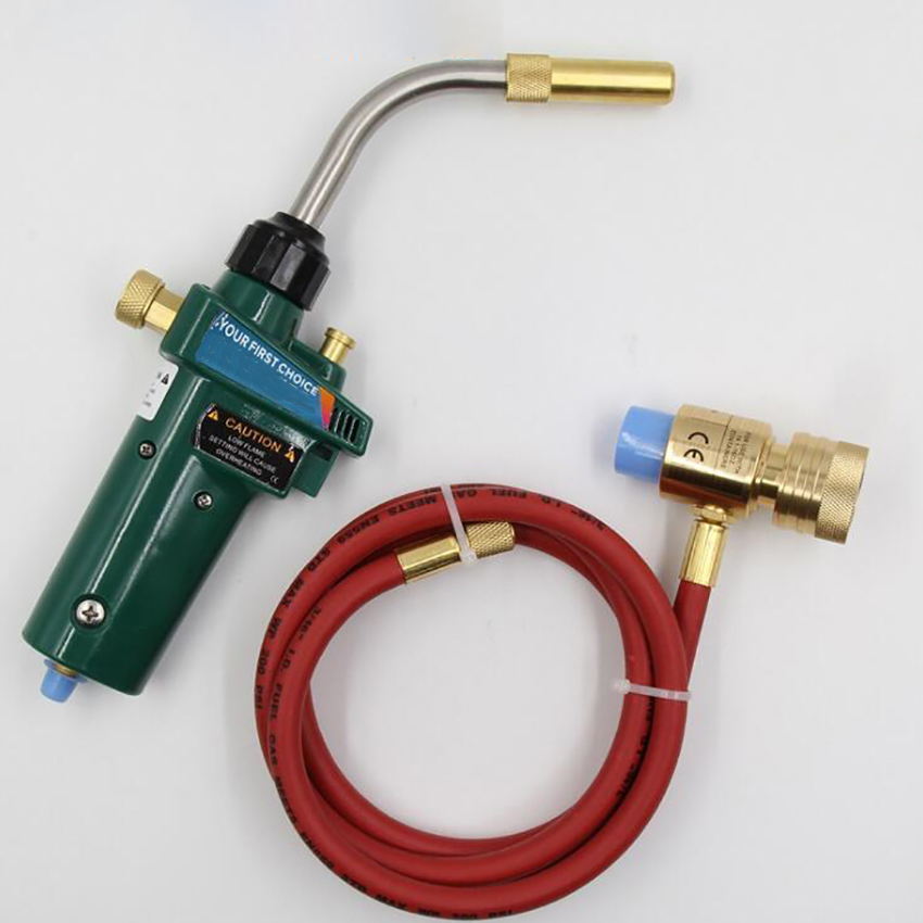 Gas Brazing Torch Self Ignition with 1 5 Meters Hose Handheld Gas Propane Welding Torch Head Swirl flame Safety Lock Flame