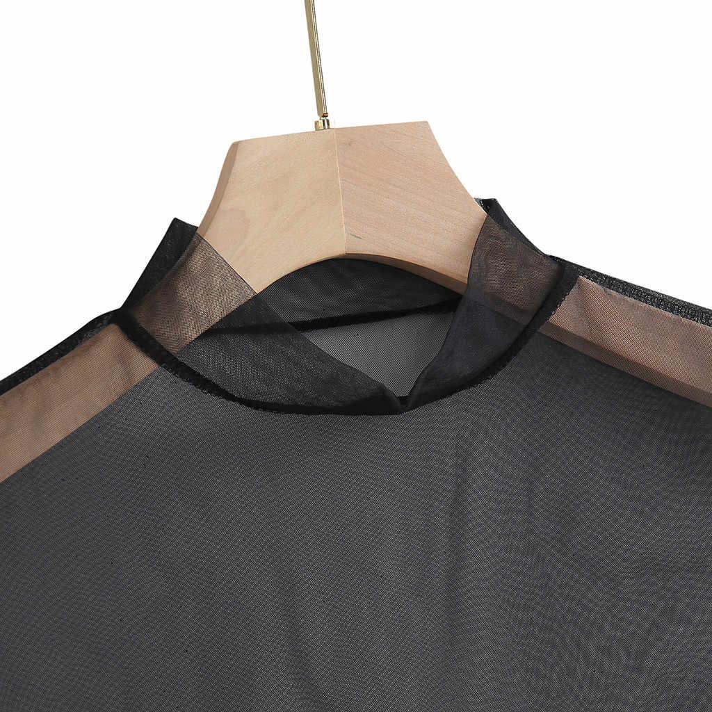Feminino sexy clubwear sheer t-shirts em torno do pescoço manga curta puro malha transparente exposto umbigo topos verão tshirts