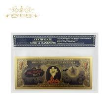 1 шт. Новый дизайн Хэллоуин банкнота Америка банкнота в 24K позолоченные бумажные деньги для подарка
