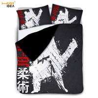 Boys Martial Design Comfortable Bedspread 3Pcs Martial Judo Duvet Cover&Pillowcase Taekwondo Karate Aikido Kune Do Bed Kid Linen