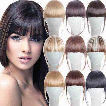 Hot Black Brown Blonde Fake Fringe Clip Hair Extensions With High Temperature Synthetic Fiber Hair Accesories Leather Bag