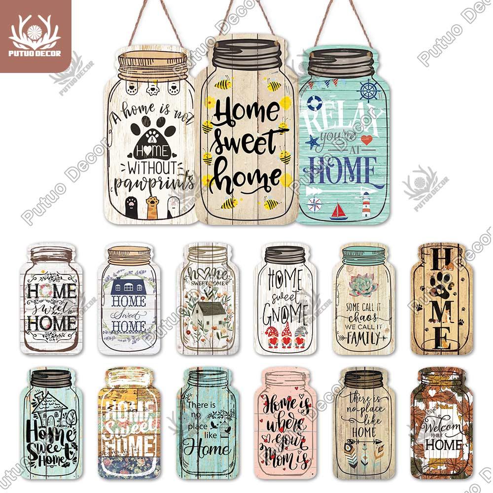 Putuo decoração da casa sinal mason jar forma de madeira pendurado sinal placa da família madeira para decoração de casa rústica casa da fazenda arte da parede decoração