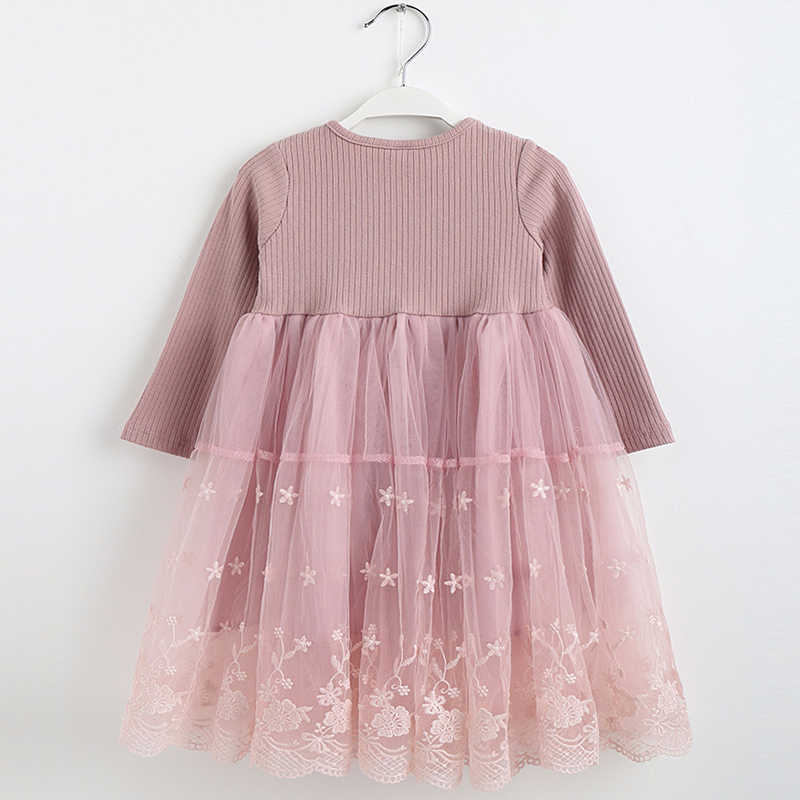 Vestido elegante de bebé de manga larga de malla empalme vestidos de princesa de encaje niños fiesta de cumpleaños traje infantil chicas dulces y lindas ropa