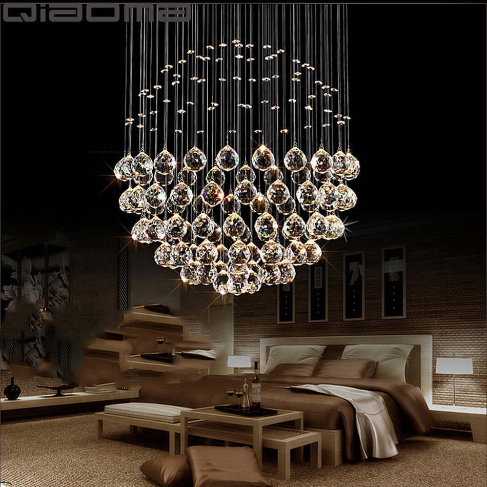 Modern Large Crystal Chandeliers Light Fixture For Lobby Staircase Chandelier Long Spiral Crystal Light Lustre Ceiling Lamp