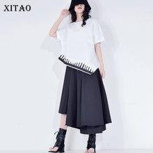 XITAO irrégulière Patchwork décontracté t-shirt mode grande taille femmes vêtements 2020 été pull à manches courtes t-shirt haut GCC3527