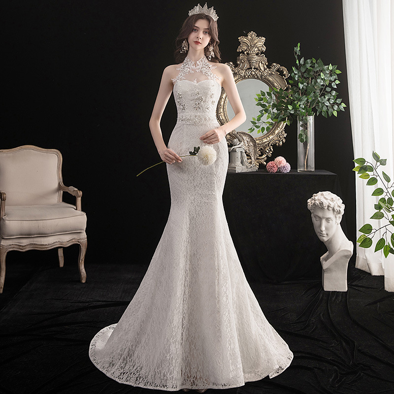 Popodion Mermaid Wedding Dress High Neck Wedding Gowns Lace Bride Dress WED90541