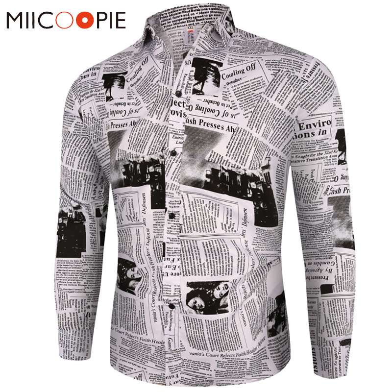 New Arrival Casual Business Plaid Shirts Men Dress Vintage Newspaper Print Long Sleeve Camisa Social Mens Floral Shirts M-3XL