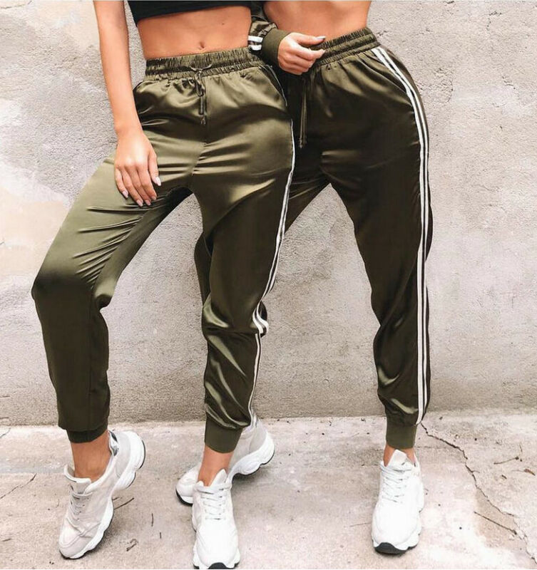 Fashion Women Ladies High Waist Striped Track Pants Elegant Fitness Stretch Party Club Pantalon Femme Dames Kleding Streetwear