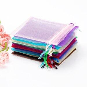Image 5 - 50 Stks/partij 7X9Cm Wit Sieraden Verpakking Drawable Organza Tassen Wedding Gift Bags Bruiloft Benodigdheden