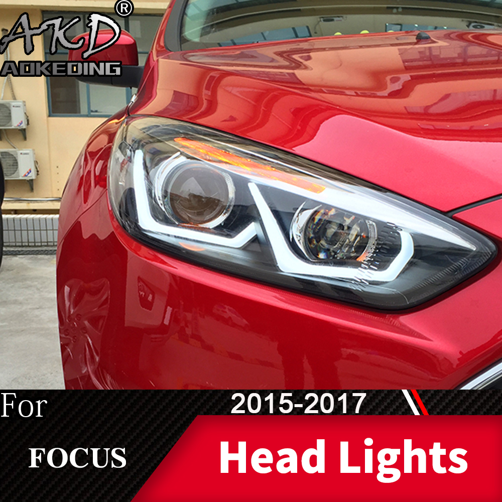 Head Lamp For Car Ford Focus 2015-2017 Focus 4 Headlights Fog Lights Day Running Light DRL H7 LED Bi Xenon Bulb Car Accessory