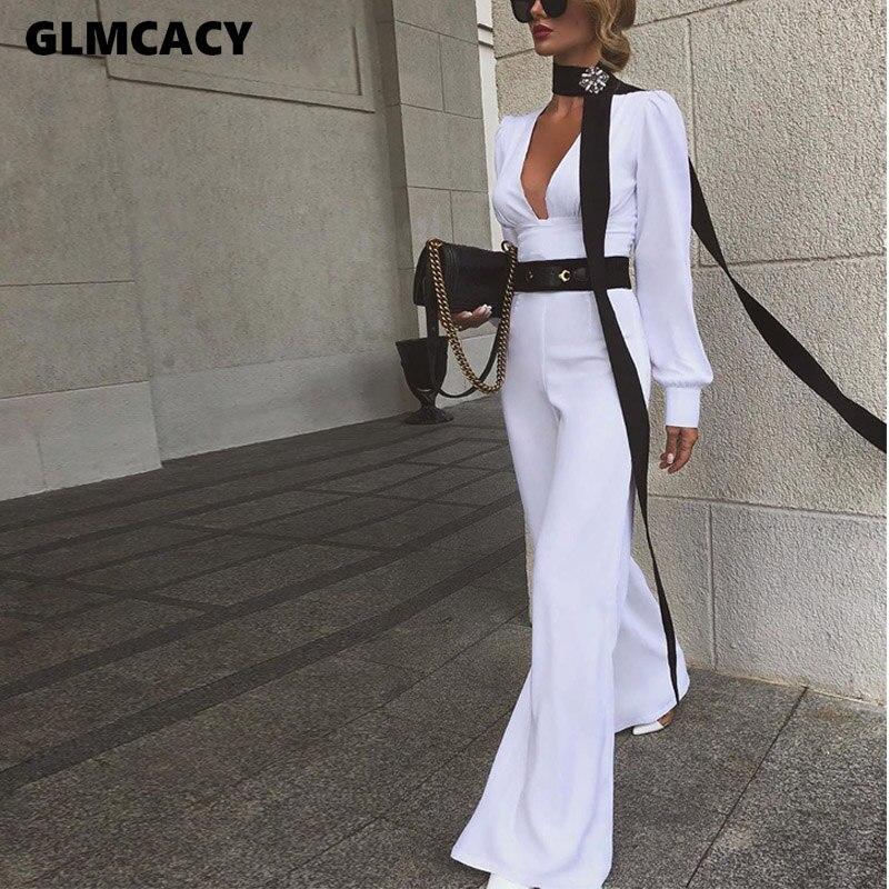 Women Office Lady Deep V-neck Long Sleeve Jumpsuits Autumn Elegant Solid Slim Boot Cut Pants Women Jumpsuit