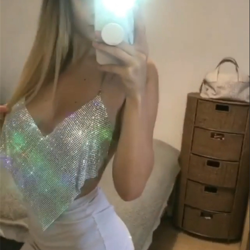 AKYZO Women Halter Handmade Rhinestones Camis Shiny Beach No Back Vests 2017 Summer Party Club Gold Metal Diamond Tank Tops