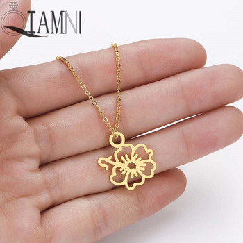 QIAMNI Hibiscus Rosemallows Pendant Necklace Choker Hawaiian Flower Layering Necklace Jewelry Mother Birthday Gift Collier Femme image