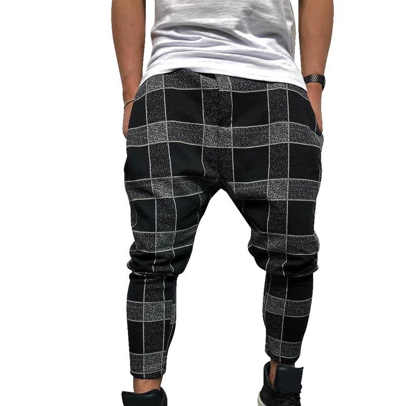WENYUJH Men Casual Harem Pants Stylish Loose Plaid Pant Printed Joggers Sporting Trousers Men Hip Hop Pantalon Homme 2019