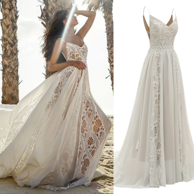Sexy Lace Beach Bohemian Spaghetti Straps Bridal Plus Size Wedding Gown Dress REAL PHOTO FACTORY PRICE