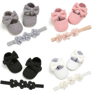 Shoes First-Walkers Baby-Girl Headband Anti-Slip Soft-Sole Princess Cotton 2pcs