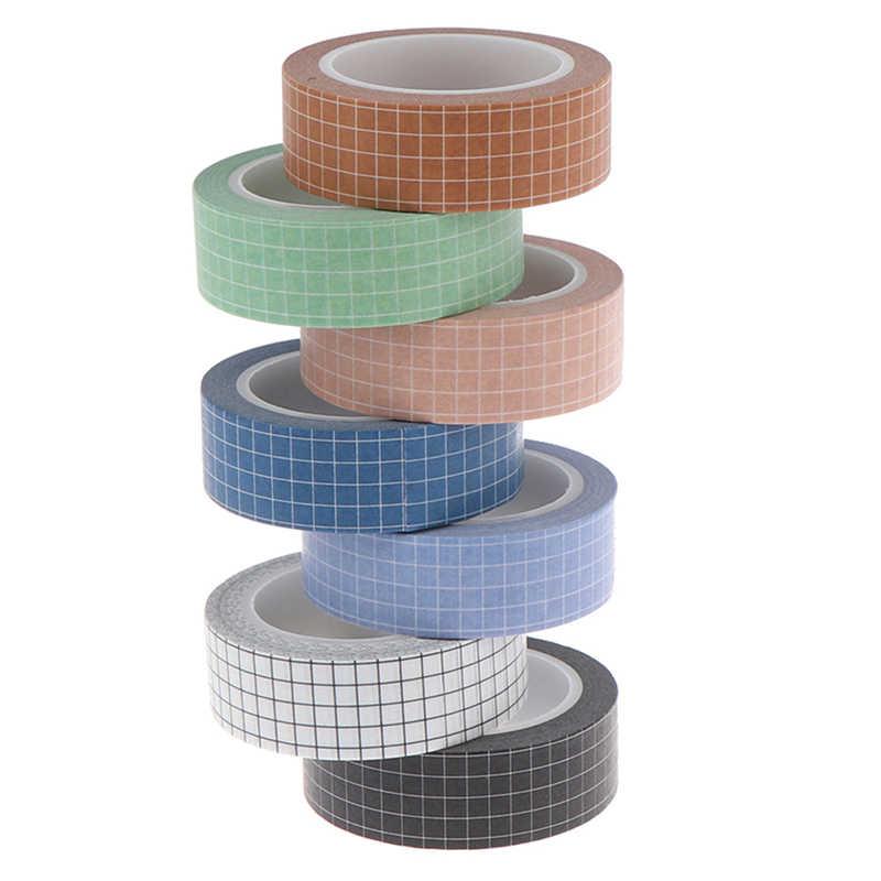 Grid Washi Tape Kertas Jepang DIY Perencana Masking Tape Perekat Stiker Stationery Tape Dekoratif Hot Sale Colorful