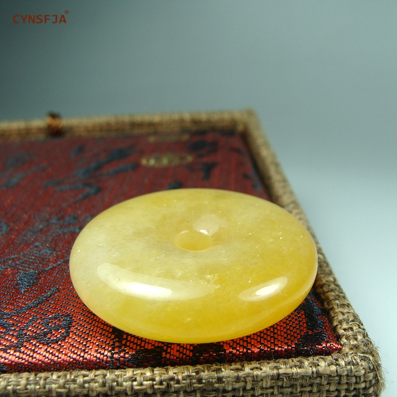 CYNSFJA Real Rear Certified Natural Golden Imperial Jade Pendant Peace Buckle Amulet Carved Fine Jewelry High Quality Best Gift in Charms from Jewelry Accessories