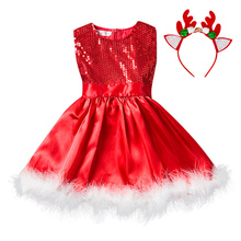 Girls Dress Santa Claus Reindeer Party Baby Clothing
