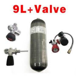 Tanque de buceo Acecare 9L CE HPA cilindro de fibra de carbono para buceo 4500psi tanque de aire comprimido Pcp cilindro Pcp válvula M18 * 1,5