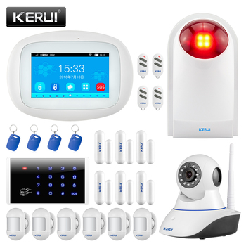 KERUI K52 WIFI GSM Alarm Systems 4.3 Inch Full Touch Color Display Home Security Burglar Alarm With Wireless Sensor Siren Camera smartyiba app push sms voice monitoring wireless wifi smart home burglar alarm sensor alarm with ip camera wireless siren horn