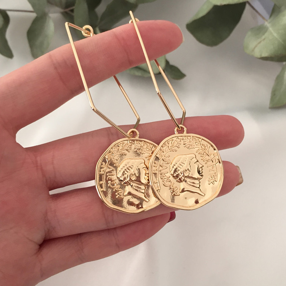 Simple Casual Women Drop Earrings Gold Coin Geometric Oval Circle Dangle Earrings For Women Fashion Vintage Boho Party Gift