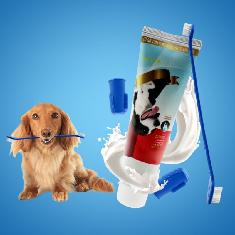 Pet Finger Toothbrush Oral Care Dental Cleaning Kit Dog Toothpaste And Toothbrush Set image