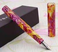 LIY (vive en ti) Fibra de acetato de resina impresionante pluma estilográfica y punta fina bolígrafo tinta escribir Set para la colección de negocios de regalo-17