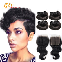 "Htonicca Hair Extensions 8"" Short Bob Style Body Wave Ombre 1B/27/30 Remy Human Hair Bundles Honey Blonde Brazilian Hair Weave"