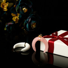 Collier pendentif croissant en quartz rose naturel, cristaux minéraux de guérison, cadeau de fête de vacances à faire soi-même