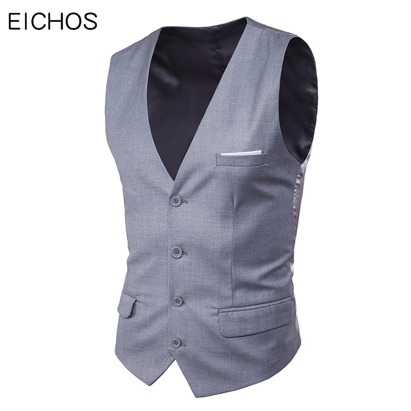New Men Vest Wedding Grey Black Solid Waistcoat Business Party Vests Slim Casual Sleeveless Single Breasted Suit Vests For Men