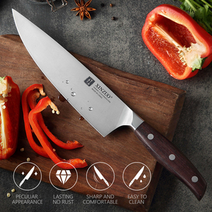 Image 5 - XINZUO 8 Chef Knife German DIN 1.4116 Steel Kitchen Knives Stainless Steel Meat Vegetables Knife Kitchen Red Sandalwood Handle