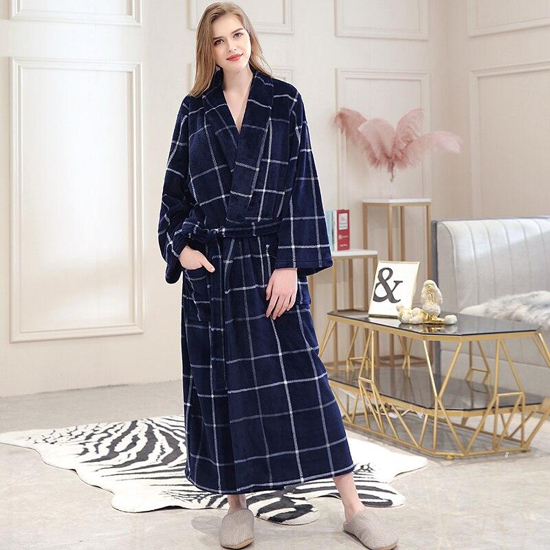 Image 5 - Women Winter Plaid Plus Size Long Flannel Bathrobe 40 130KG Warm Bath Robe Cozy Kimono Robes Dressing Gown Men Night Sleepwear-in Robes from Underwear & Sleepwears on AliExpress