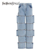 TWOTWINSTYLE Streetwear Denim Wide Leg Pants For Women High Waist Patchwork Hollow Out Casual Jeans Female 2020 Fall Fashion New