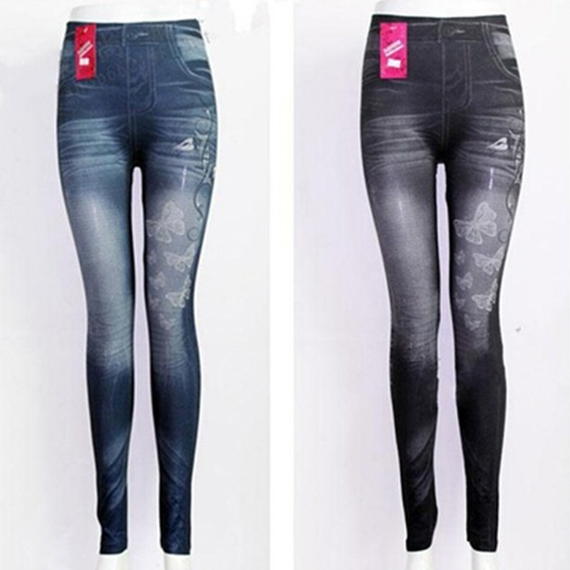 Slim Women Leggings Butterfly Printing Leggin Skinny Jeans Legging Female Casual Denim Legging