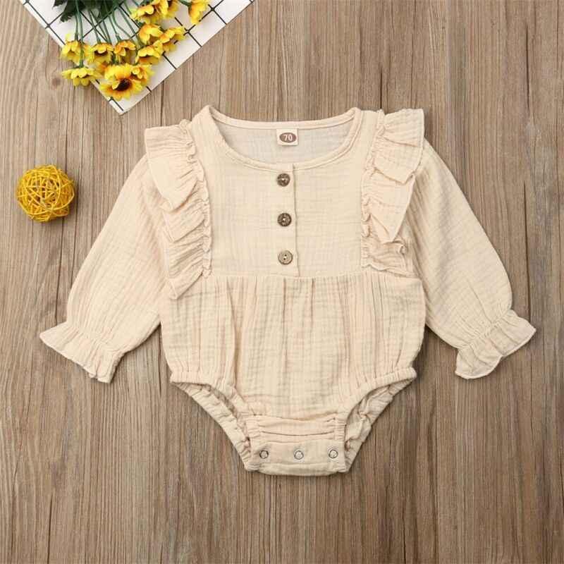 Коллекция 2019 года, весенне-осенняя одежда для малышей хлопковое льняное боди для новорожденных девочек и мальчиков однотонный комбинезон с пуговицами и длинными рукавами