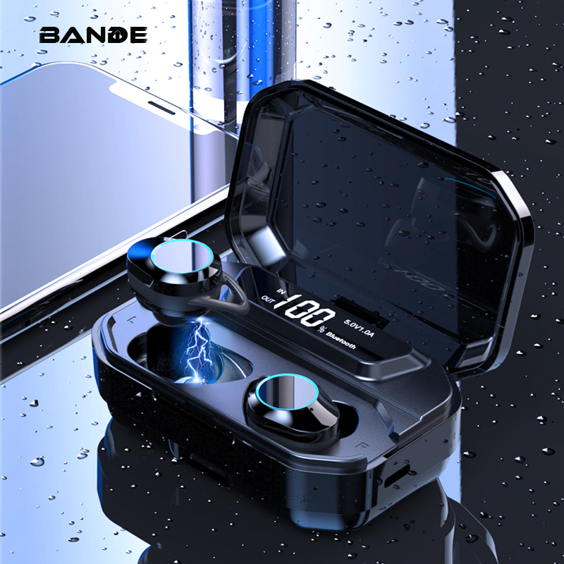 BANDE  TWS Earbuds Sound Effect Improve G02 Upgrade Bluetooth Wireless Earphone With Charger Box 3300mAh And Power Display-in Phone Earphones & Headphones from Consumer Electronics