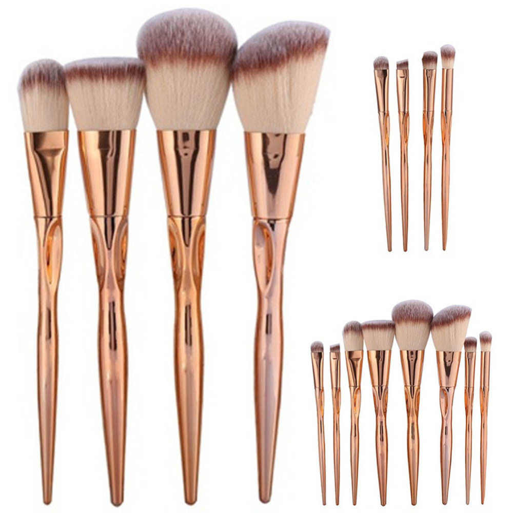 4/8Pcs Set Logam Makeup Brushes Kosmetik Foundation Wajah Power Blush On Perona Make Up Kit Maquiagem kapas Dfdf