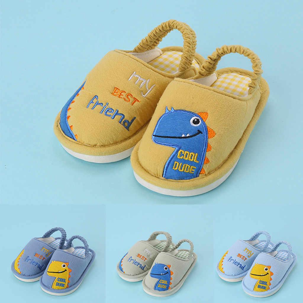 ילדי כותנה מקורה נעלי בית בני בנות יוניסקס קריקטורה דינוזאור נעלי בית חם נעלי בית שקופיות