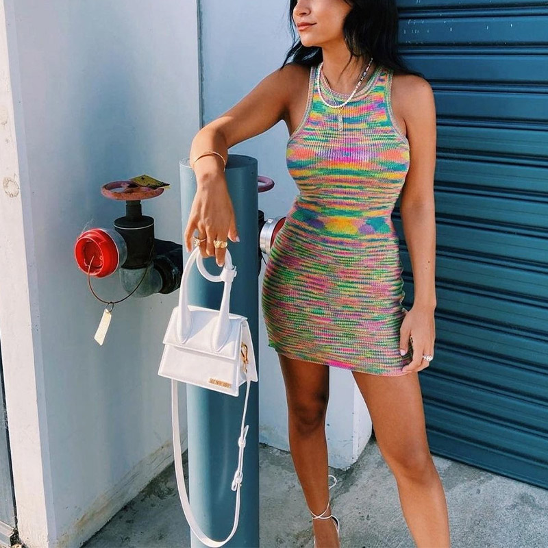 2021 Blue Knitted Cotton Mini Dress Women Off Shoulder O Neck Sexy Beach Vintage Party Y2K Summer Casual Bodycon Dresses Holiday 7